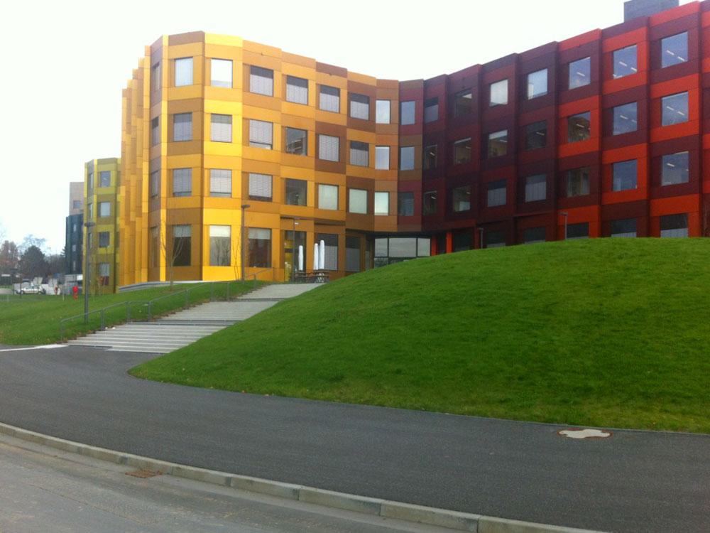 Bürogebäude, großflächige Erdarbeiten